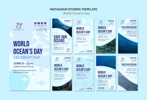 World ocean's day instagram stories template Free Psd