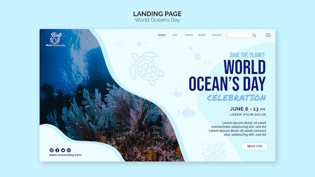 Modello della pagina di destinazione del giorno dell'oceano del mondo Psd Gratuite