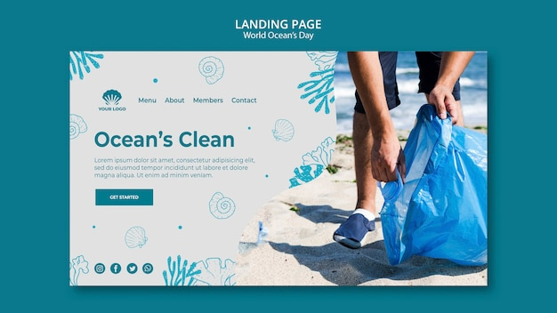 World ocean's day landing page template Free Psd
