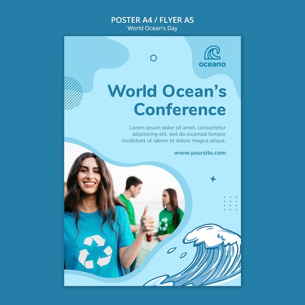 World ocean's day poster template Free Psd