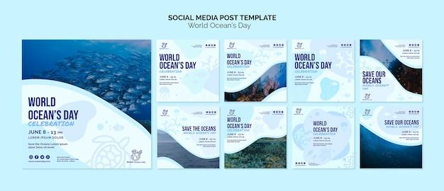 Modello di post di social media del giorno dell'oceano mondiale Psd Gratuite