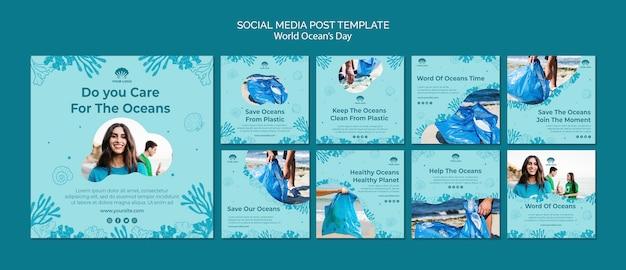 Шаблон сообщения в социальных сетях, посвященный всемирному дню океана Бесплатные Psd