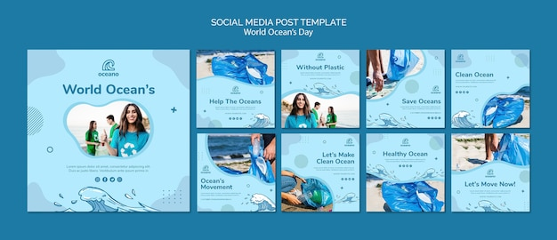 World ocean's day social media template Free Psd