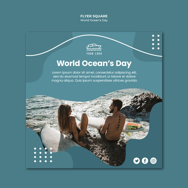 World ocean's day square flyer template Premium Psd