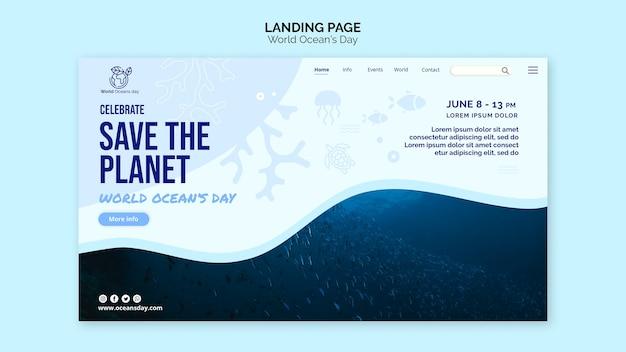 Pagina di destinazione del modello giornata mondiale dell'oceano Psd Gratuite