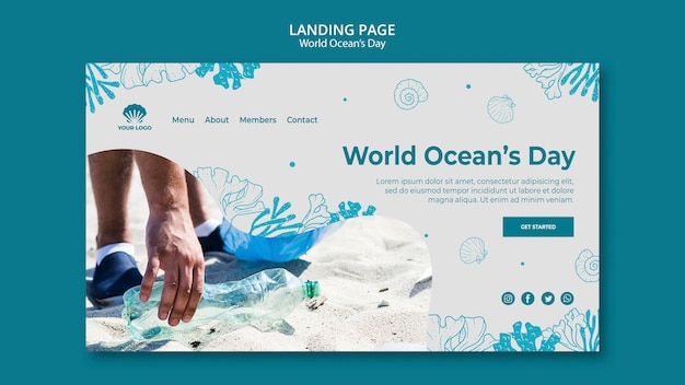 World ocean's day template landing page Free Psd