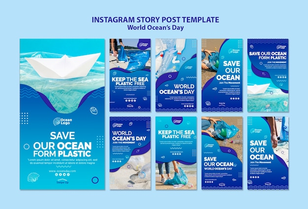 World oceans day instagram stories template Free Psd