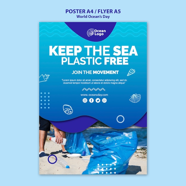 World oceans day poster template Free Psd