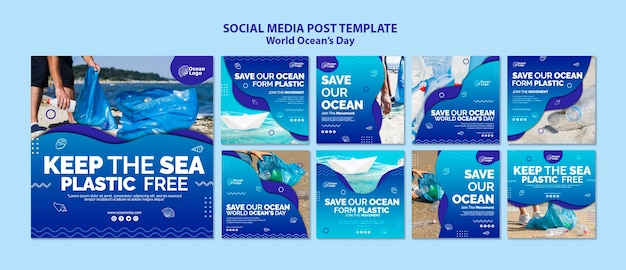 World oceans day social media post template Free Psd