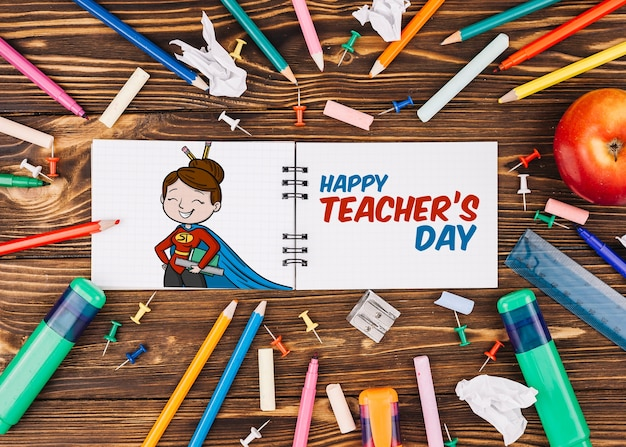 World teacher day mockup with booklet Free Psd