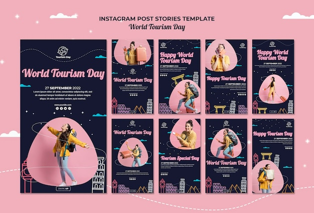 World tourism day instagram stories collection Free Psd