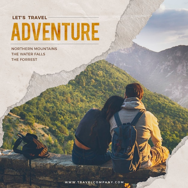 World travel adventure social media post 2020 Premium Psd