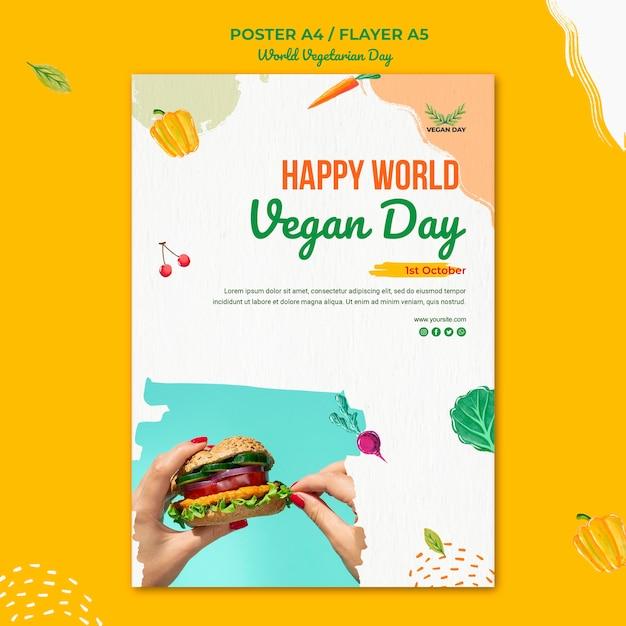 世界菜食主義の日チラシテンプレートスタイル 無料 Psd