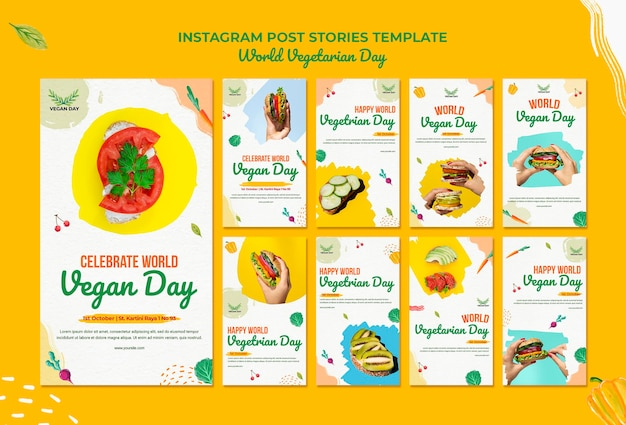World vegetarian day instagram posts Premium Psd