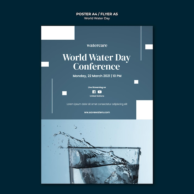 World water day poster template Free Psd