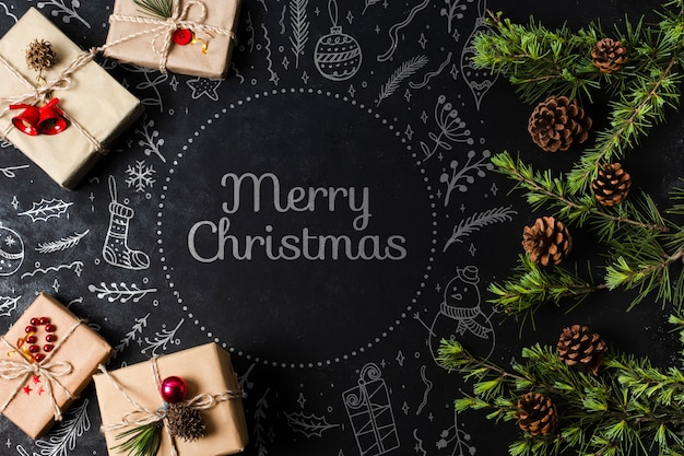 Wrapped gifts for christmas eve on table Free Psd