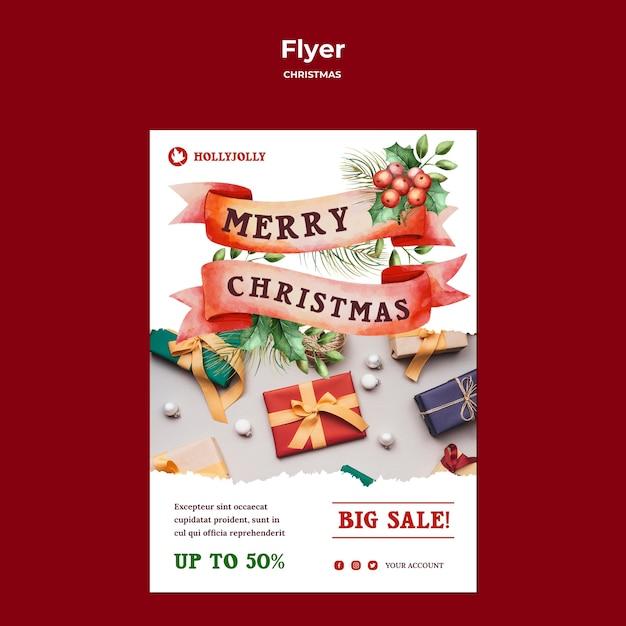 포장 된 선물 포스터 인쇄 템플릿 무료 PSD 파일