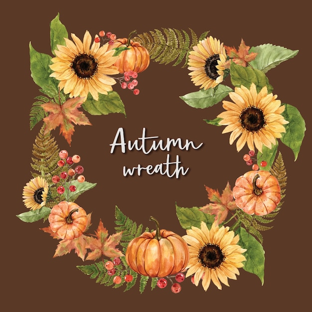 Wreath with autumn theme card Free Psd