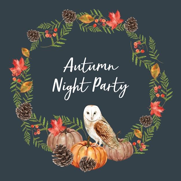 Wreath with autumn theme card Free Psd