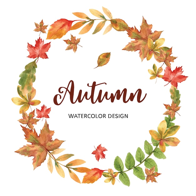 Wreath with autumn theme template Free Psd