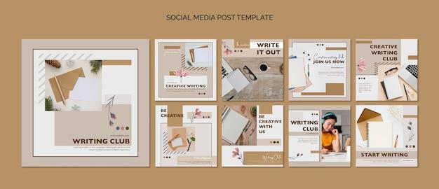 Шаблон сообщения в социальных сетях writing club Бесплатные Psd