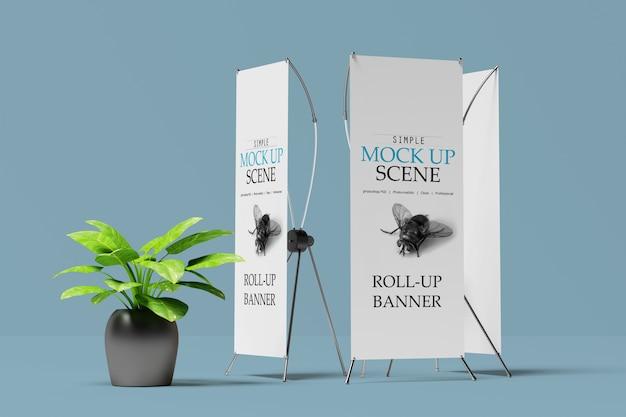 X-bannerまたはroll upスタンドモックアップ Premium Psd
