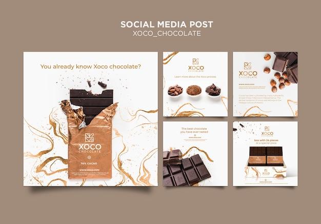 Modello di post social media cioccolato xoco Psd Gratuite