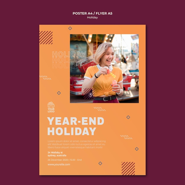Year endholiday poster print template Free Psd