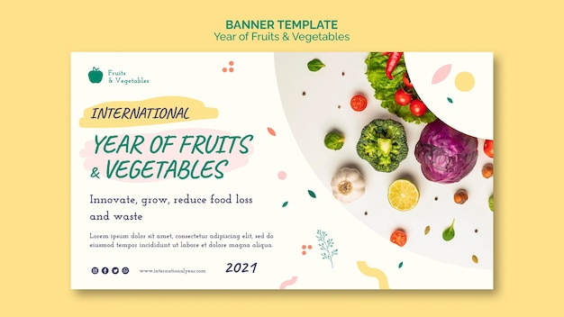 Year of fruits and vegetables banner template Free Psd