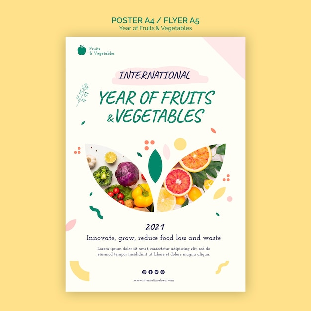 Year of fruits and vegetables flyer template Free Psd