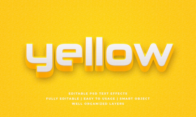 Yellow 3d text style effect Premium Psd