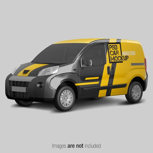 Yellow and black delivery van mockup Premium Psd