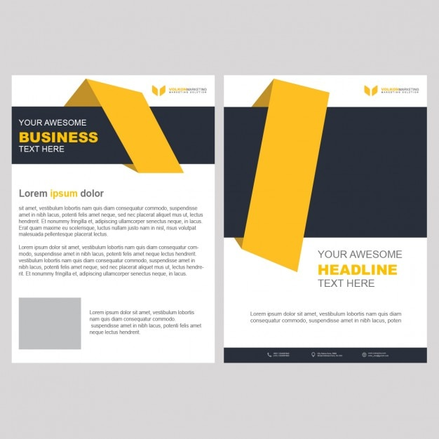 Yellow business brochure template with geometric shapes for Free business brochures templates