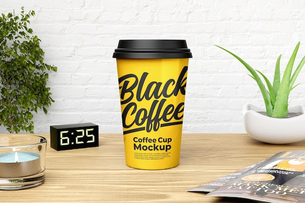 Yellow coffee cup mockup with white brick wall background Premium Psd