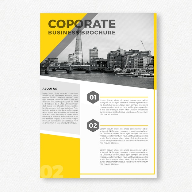 Yellow Corporate Brochure Template Psd File  Free Download