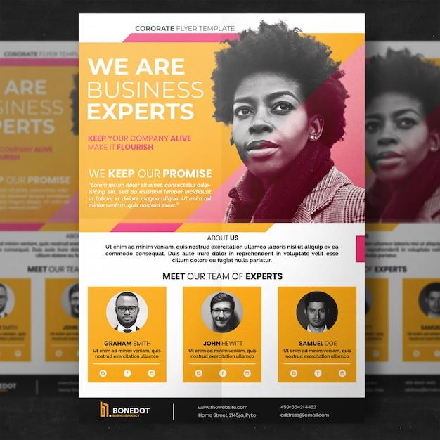 Yellow corporate flyer template Premium Psd