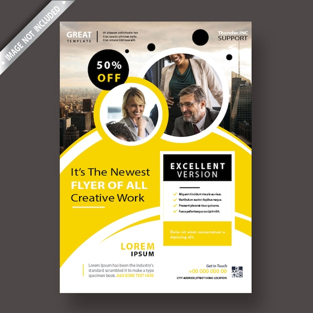 Yellow corporate flyer template Free Psd