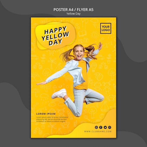 Modello del manifesto di concetto di giorno giallo Psd Gratuite
