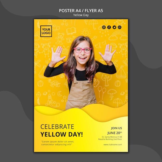 Шаблон постера в желтый день Бесплатные Psd