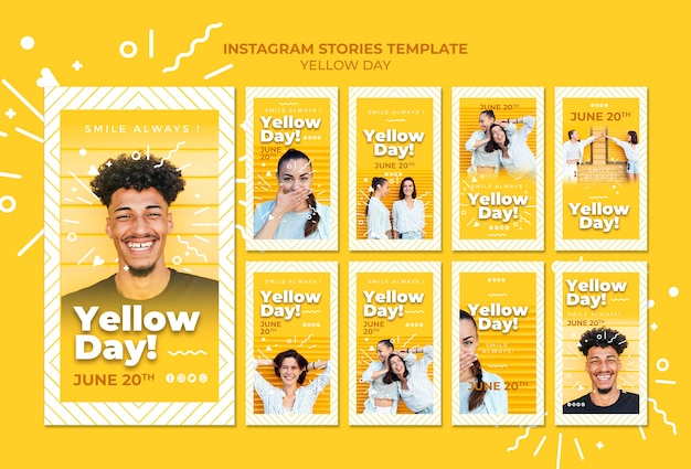 Yellow day instagram stories template Free Psd