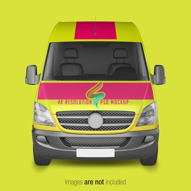 Yellow delivery van mockup Premium Psd