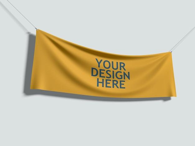 로프와 함께 매달려 노란색 패브릭 프리미엄 PSD 파일