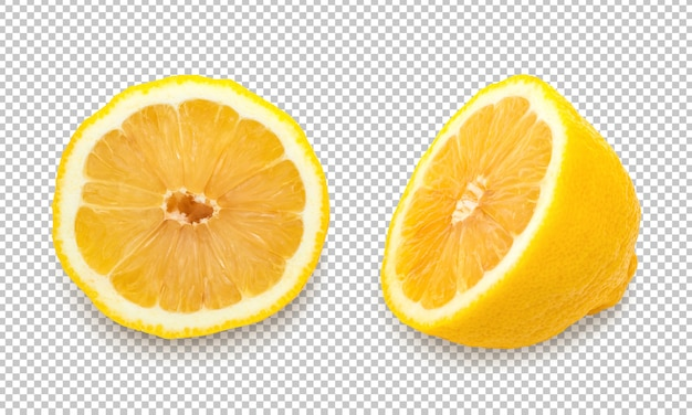 Yellow lemons on isolated transparency background Premium Psd