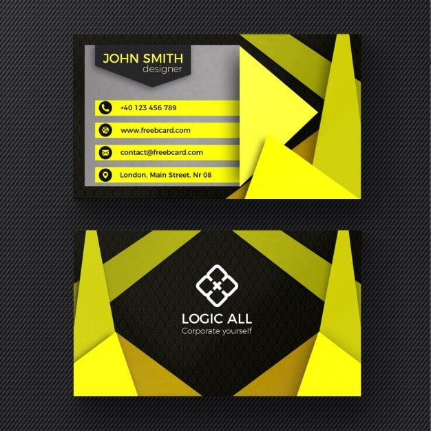 Yellow modern business card Free Psd