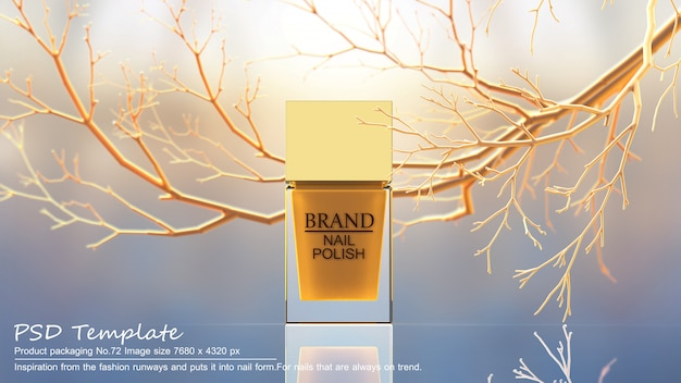 Yellow nail polish product on yellow trees background 3d render Premium Psd