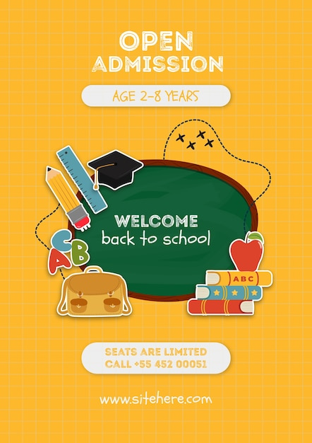 Yellow open admission poster template Free Psd
