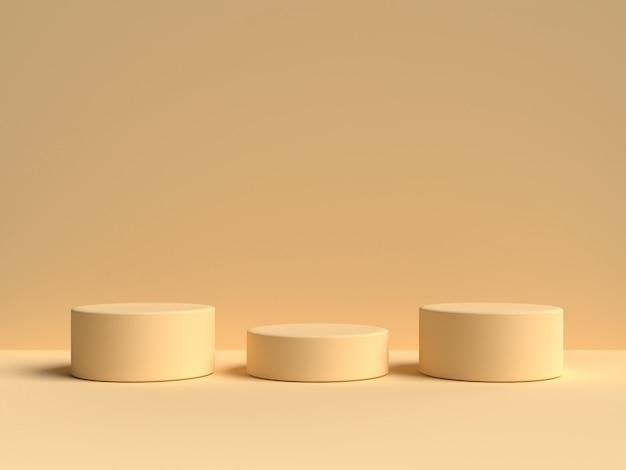Pastel 노란색 파스텔 제품 배경에 서 있습니다. 추상 최소한의 기하학 Concept.3d 렌더링 프리미엄 PSD 파일