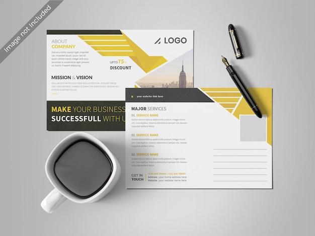 黄色のポストカードのデザインテンプレート Premium Psd