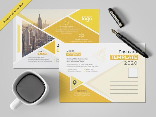 黄色のポストカードデザイン Premium Psd