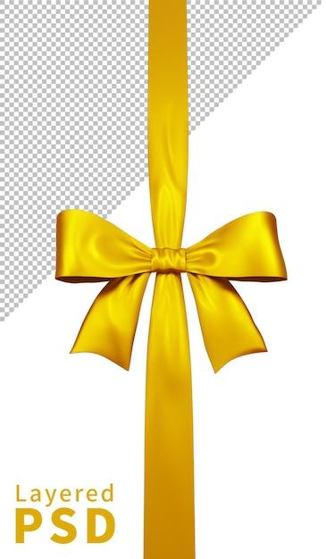 노란색 새틴 선물 리본 활 격리 됨 프리미엄 PSD 파일